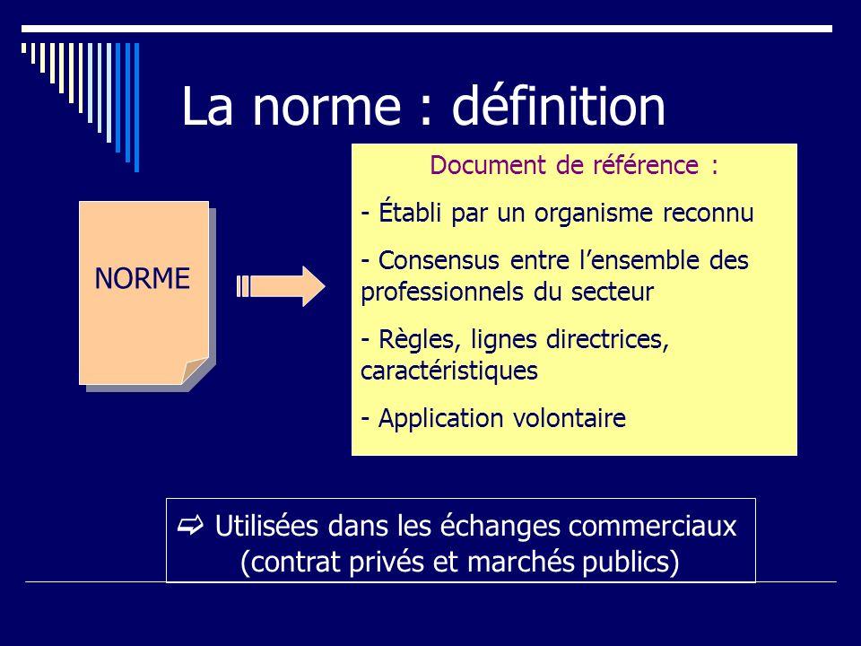 NORME Document de référence : - Établi par un organisme reconnu - Consensus entre lensemble des professionnels du secteur - Règles, lignes directrices