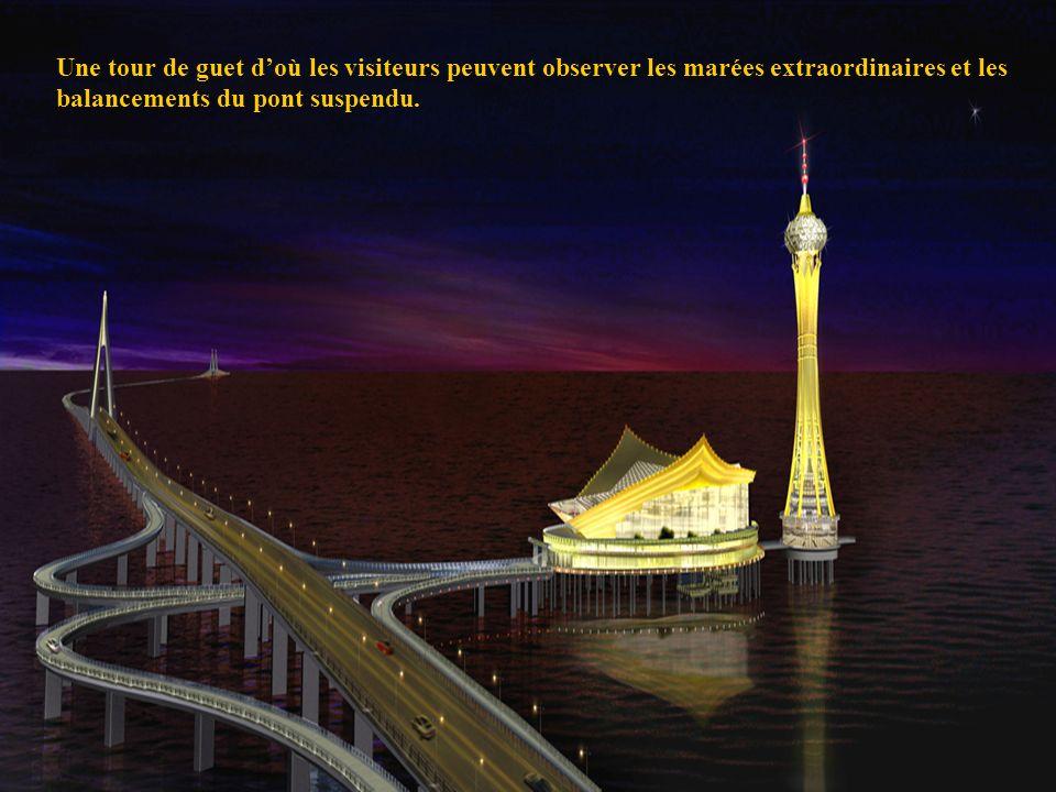 31 Une tour de guet doù les visiteurs peuvent observer les marées extraordinaires et les balancements du pont suspendu.