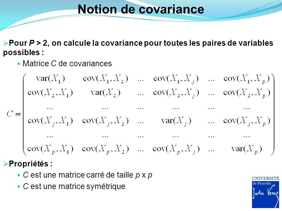 Notion de covariance Pour P > 2, on calcule la covariance pour toutes les paires de variables possibles : Matrice C de covariances Propriétés : C est