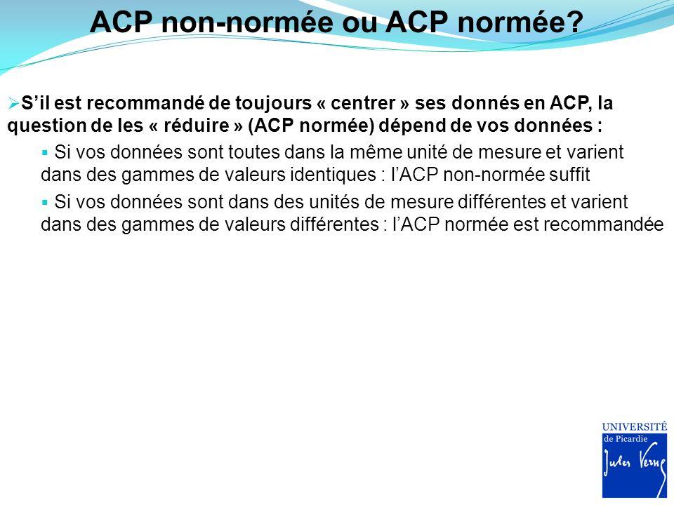 ACP non-normée ou ACP normée? Sil est recommandé de toujours « centrer » ses donnés en ACP, la question de les « réduire » (ACP normée) dépend de vos