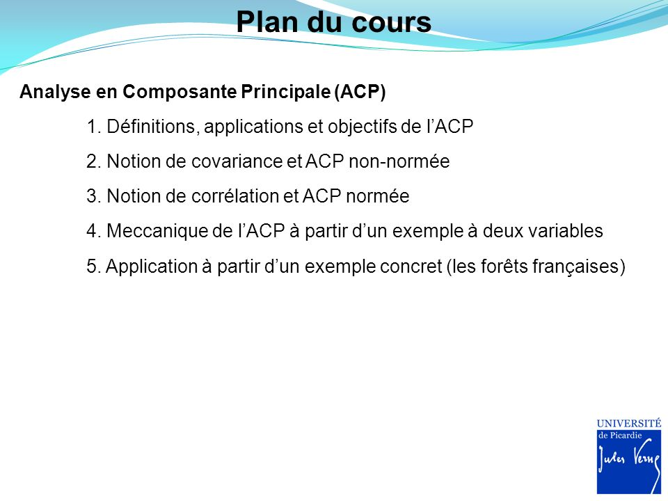 Notion de covariance ACP : calculs des CPs basés sur la covariance entre variables Quest ce que la covariance entre deux variables X 1 et X 2 .