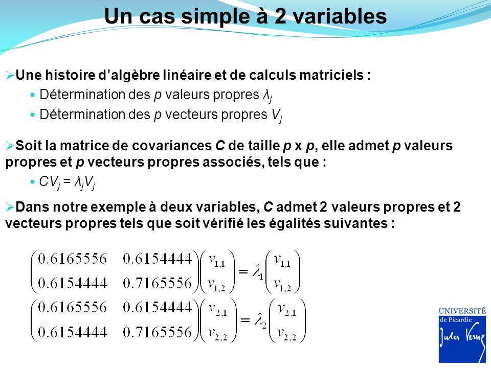 Un cas simple à 2 variables Une histoire dalgèbre linéaire et de calculs matriciels : Détermination des p valeurs propres λ j Détermination des p vect