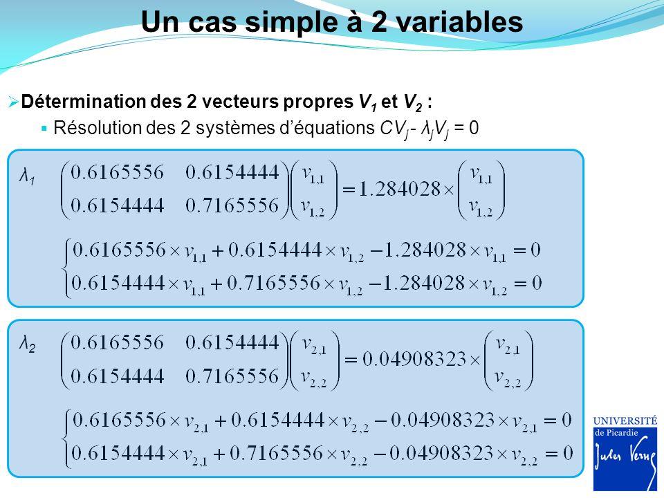 Un cas simple à 2 variables Détermination des 2 vecteurs propres V 1 et V 2 : Résolution des 2 systèmes déquations CV j - λ j V j = 0 λ1λ1 λ2λ2