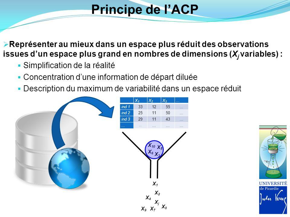 Principe de lACP Représenter au mieux dans un espace plus réduit des observations issues dun espace plus grand en nombres de dimensions (X j variables