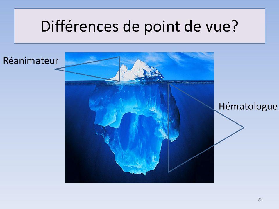 Différences de point de vue? 23 Réanimateur Hématologue