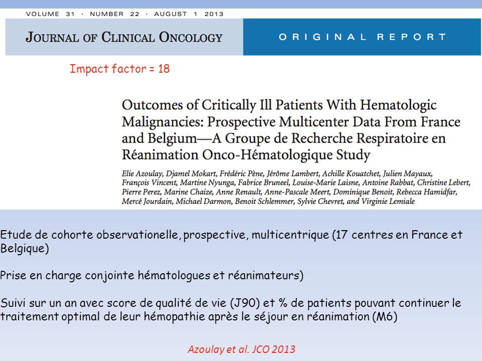 Azoulay et al. JCO 2013 39% de décès à lhôpital