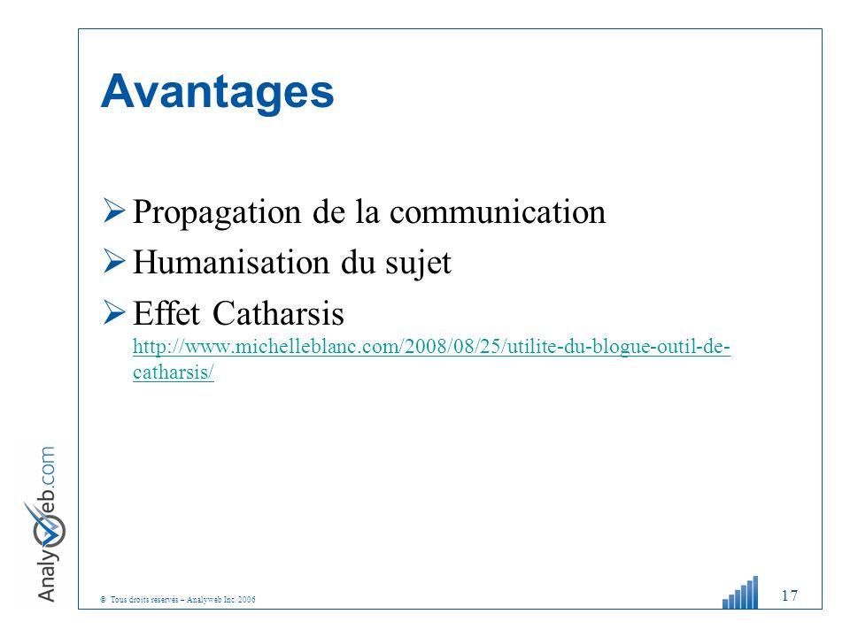 © Tous droits réservés – Analyweb Inc. 2006 Avantages Propagation de la communication Humanisation du sujet Effet Catharsis http://www.michelleblanc.c