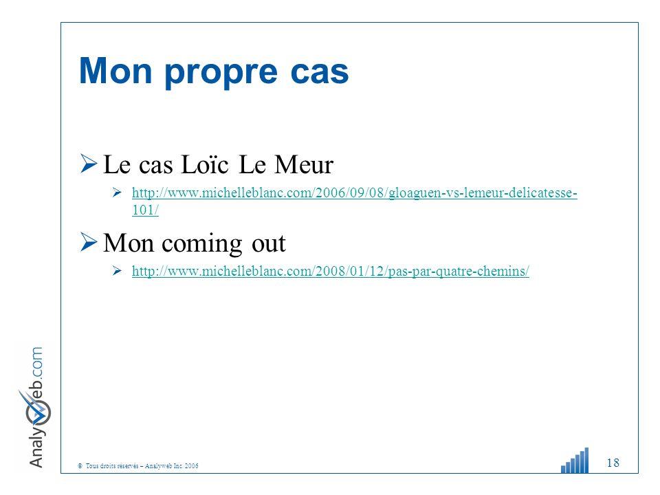 © Tous droits réservés – Analyweb Inc. 2006 Mon propre cas Le cas Loïc Le Meur http://www.michelleblanc.com/2006/09/08/gloaguen-vs-lemeur-delicatesse-