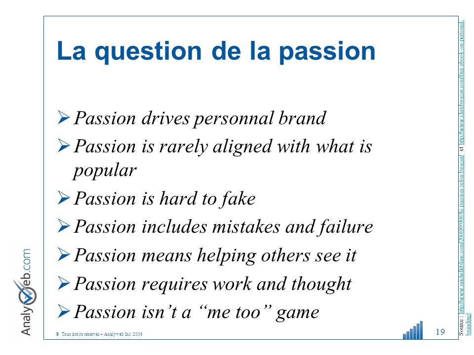 © Tous droits réservés – Analyweb Inc. 2006 La question de la passion Passion drives personnal brand Passion is rarely aligned with what is popular Pa