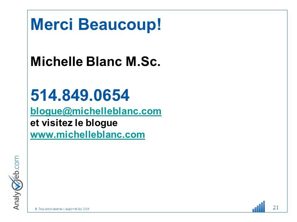 © Tous droits réservés – Analyweb Inc. 2006 21 Merci Beaucoup! Michelle Blanc M.Sc. 514.849.0654 blogue@michelleblanc.com et visitez le blogue www.mic