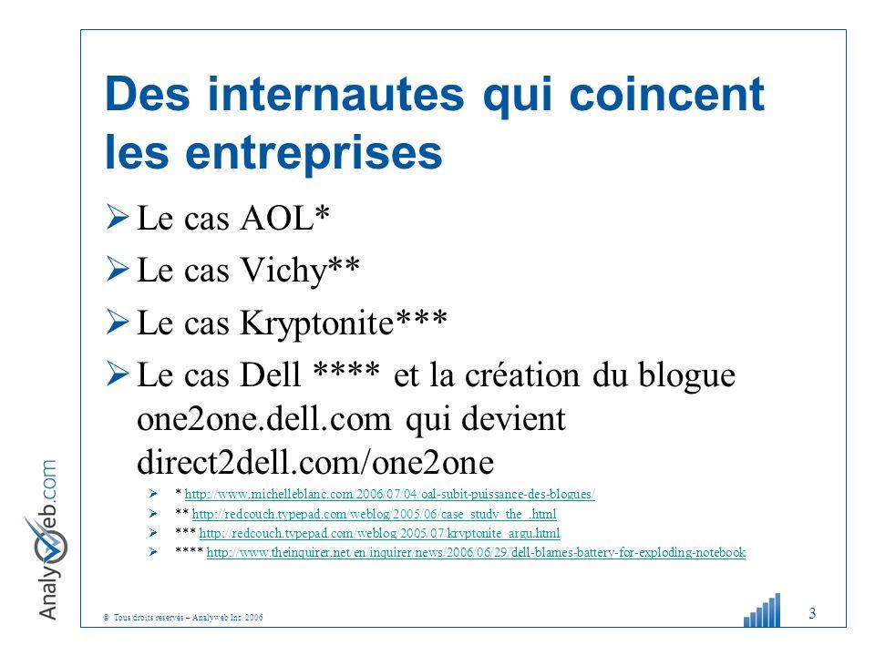 © Tous droits réservés – Analyweb Inc. 2006 Des internautes qui coincent les entreprises Le cas AOL* Le cas Vichy** Le cas Kryptonite*** Le cas Dell *