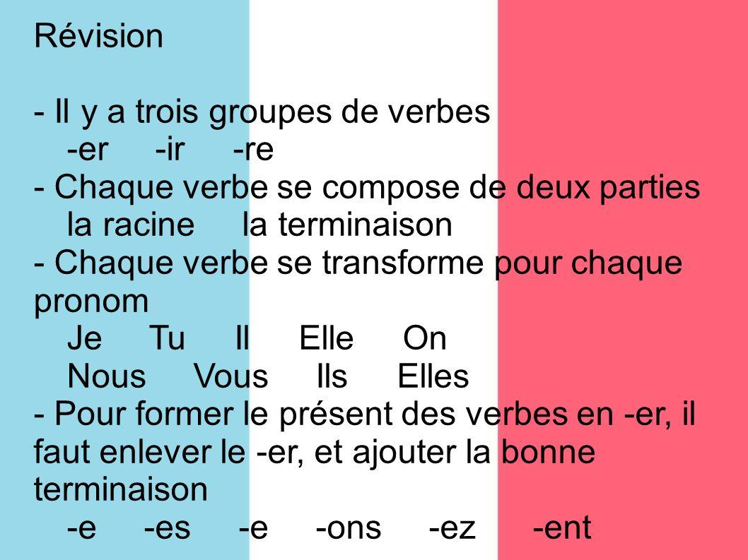 Révision - Il y a trois groupes de verbes -er -ir -re - Chaque verbe se compose de deux parties la racine la terminaison - Chaque verbe se transforme