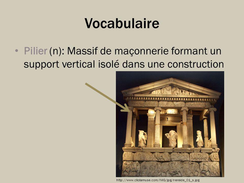 Vocabulaire Pilier (n): Massif de maçonnerie formant un support vertical isolé dans une construction http://www.cliolamuse.com/IMG/jpg/nereide_01_s.jp