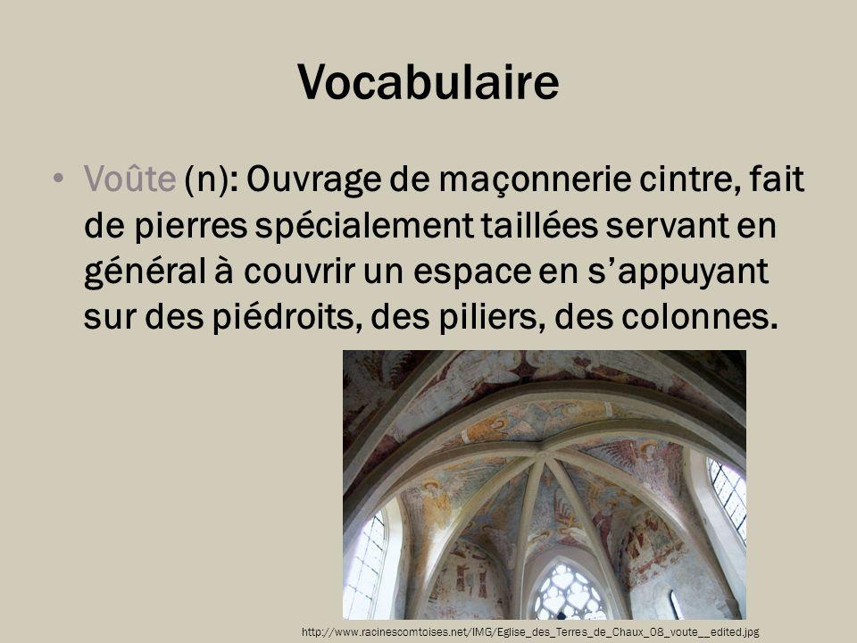 Vocabulaire Voûte (n): Ouvrage de maçonnerie cintre, fait de pierres spécialement taillées servant en général à couvrir un espace en sappuyant sur des