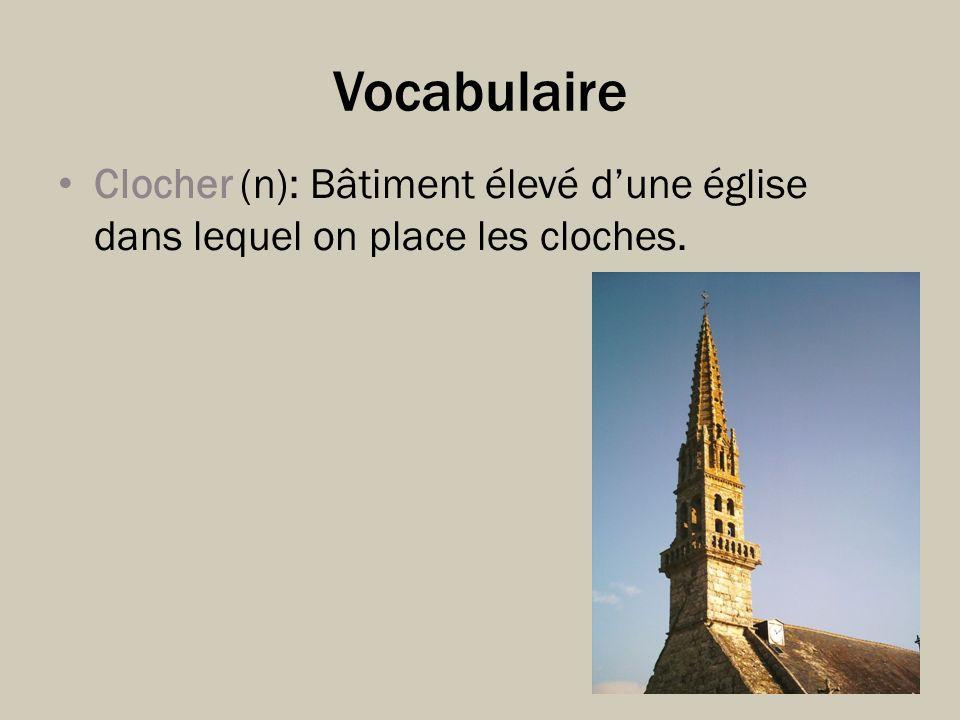 Vocabulaire Clocher (n): Bâtiment élevé dune église dans lequel on place les cloches.