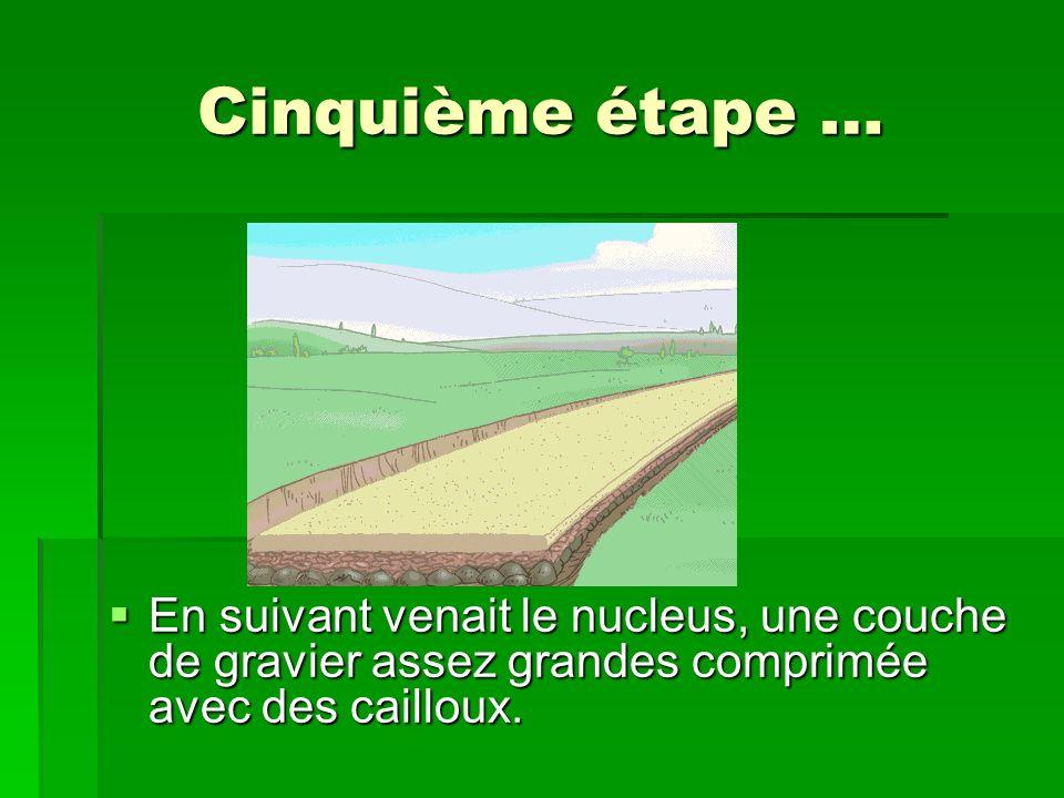 Cinquième étape … En suivant venait le nucleus, une couche de gravier assez grandes comprimée avec des cailloux. En suivant venait le nucleus, une cou