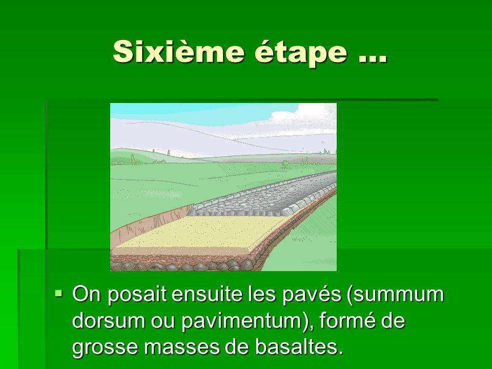 Sixième étape … On posait ensuite les pavés (summum dorsum ou pavimentum), formé de grosse masses de basaltes. On posait ensuite les pavés (summum dor
