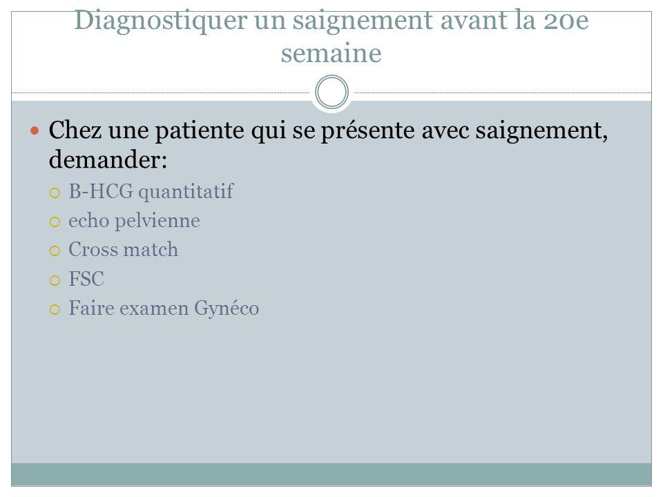 Diagnostiquer un saignement avant la 20e semaine Chez une patiente qui se présente avec saignement, demander: B-HCG quantitatif echo pelvienne Cross match FSC Faire examen Gynéco