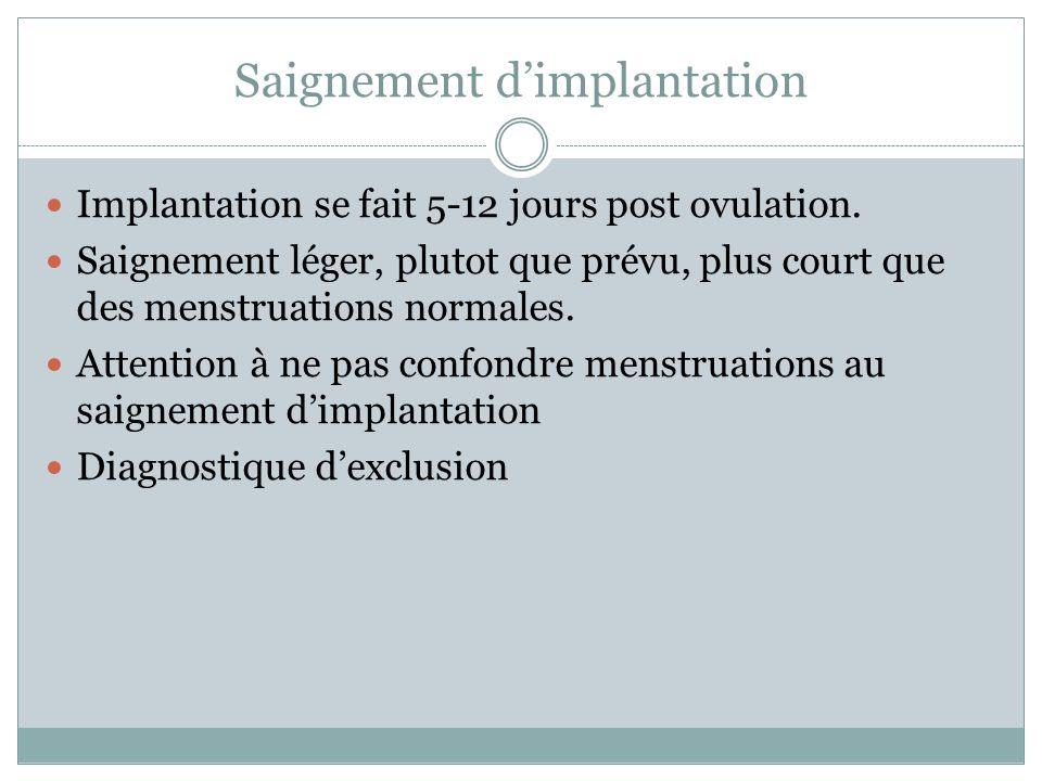 Saignement dimplantation Implantation se fait 5-12 jours post ovulation.