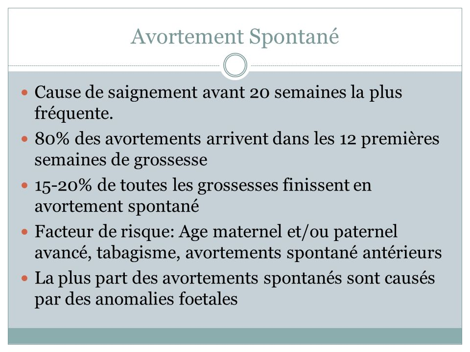 Classification des avortements spontanés Menace davortement Avortement inévitable Avortement incomplet Avortement complet Avortement manqué Avortement septique