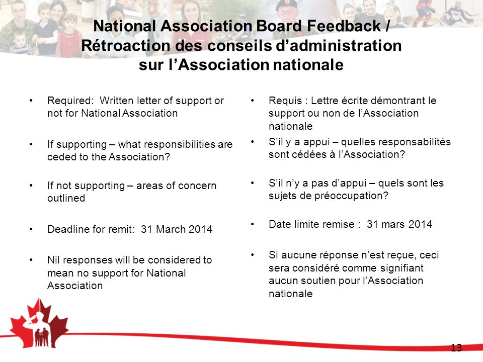 13 National Association Board Feedback / Rétroaction des conseils dadministration sur lAssociation nationale Required: Written letter of support or no