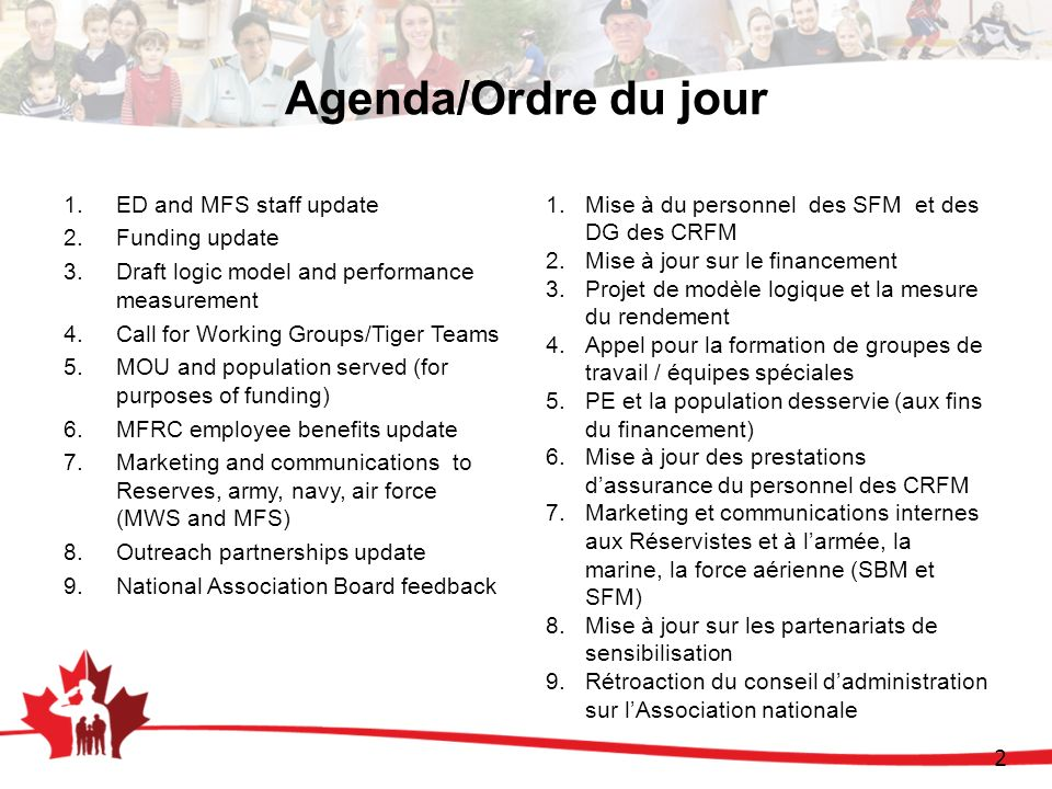 2 Agenda/Ordre du jour 1.ED and MFS staff update 2.Funding update 3.Draft logic model and performance measurement 4.Call for Working Groups/Tiger Team