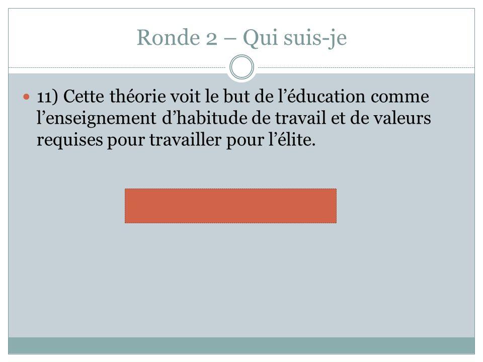Ronde 2 – Qui suis-je 11) Cette théorie voit le but de léducation comme lenseignement dhabitude de travail et de valeurs requises pour travailler pour lélite.