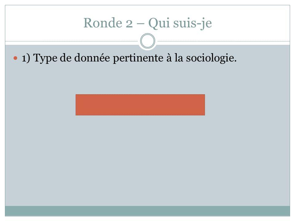 Ronde 2 – Qui suis-je 1) Type de donnée pertinente à la sociologie. statistiques