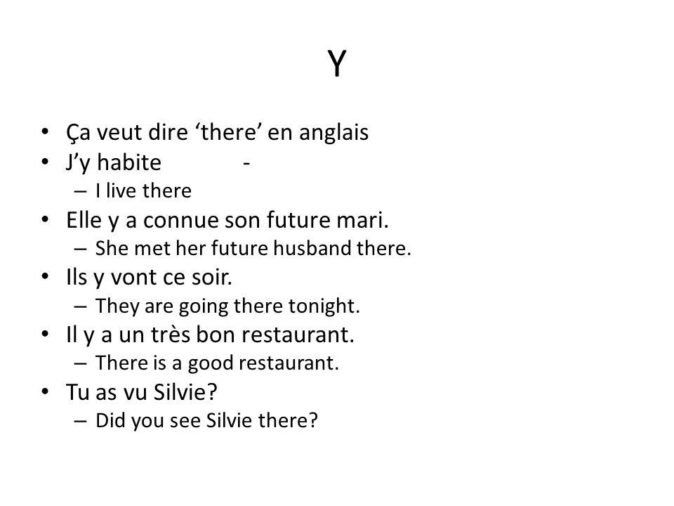 Y Ça veut dire there en anglais Jy habite- – I live there Elle y a connue son future mari. – She met her future husband there. Ils y vont ce soir. – T