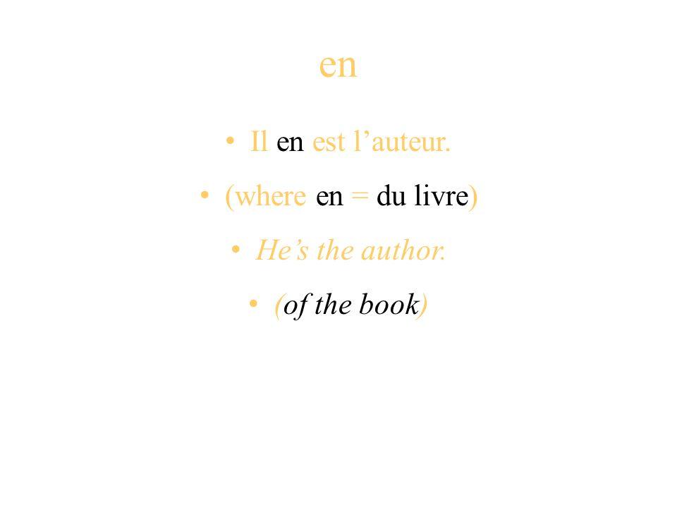 en Il en est lauteur. (where en = du livre) Hes the author. (of the book)