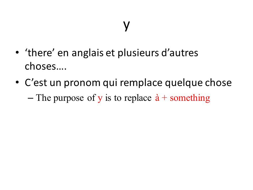 y there en anglais et plusieurs dautres choses…. Cest un pronom qui remplace quelque chose – The purpose of y is to replace à + something