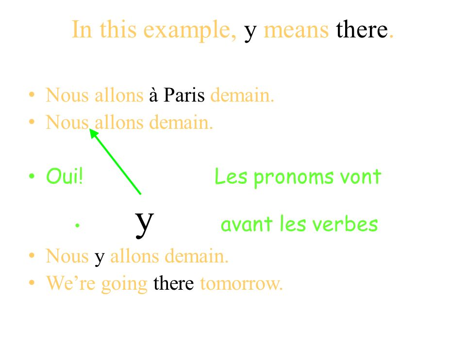 In this example, y means there.Nous allons à Paris demain.