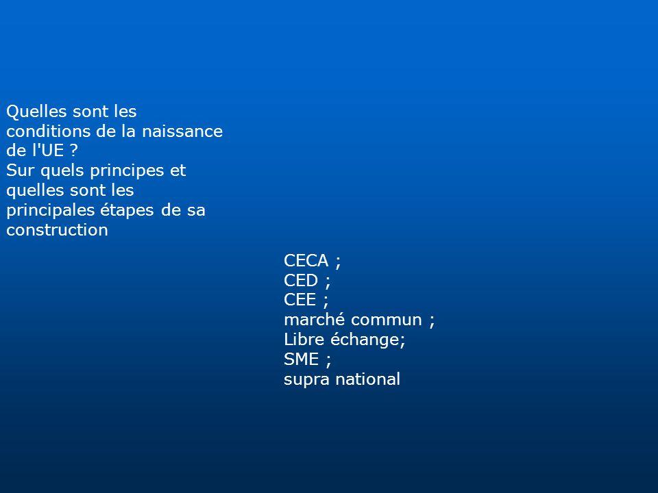 Quelles sont les conditions de la naissance de l'UE ? Sur quels principes et quelles sont les principales étapes de sa construction CECA ; CED ; CEE ;