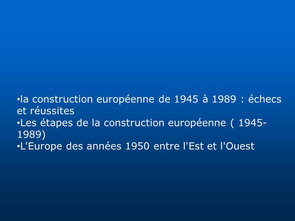 la construction européenne de 1945 à 1989 : échecs et réussites Les étapes de la construction européenne ( 1945- 1989) L'Europe des années 1950 entre