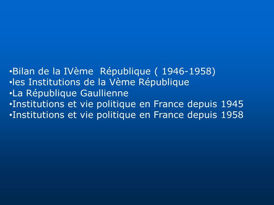 Bilan de la IVème République ( 1946-1958) les Institutions de la Vème République La République Gaullienne Institutions et vie politique en France depu