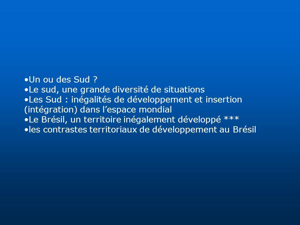 Un ou des Sud ? Le sud, une grande diversité de situations Les Sud : inégalités de développement et insertion (intégration) dans lespace mondial Le Br
