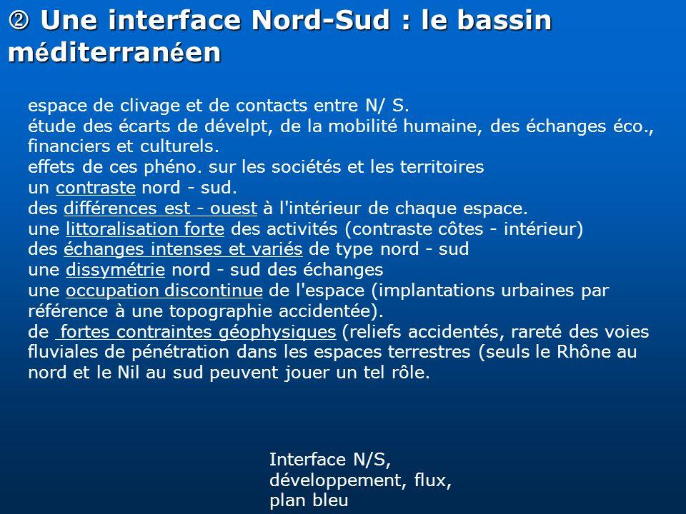 Une interface Nord-Sud : le bassin m é diterran é en Une interface Nord-Sud : le bassin m é diterran é en espace de clivage et de contacts entre N/ S.