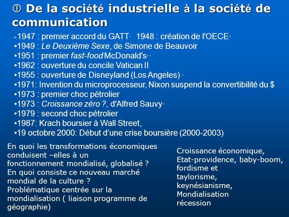 De la soci é t é industrielle à la soci é t é de communication De la soci é t é industrielle à la soci é t é de communication · 1947 : premier accord