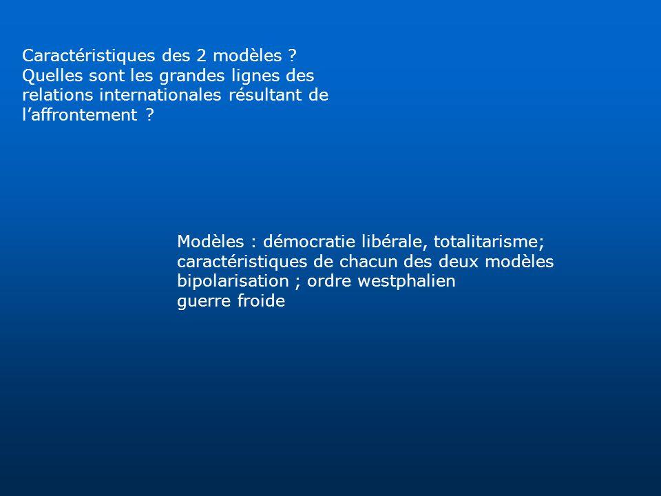 Caractéristiques des 2 modèles ? Quelles sont les grandes lignes des relations internationales résultant de laffrontement ? Modèles : démocratie libér
