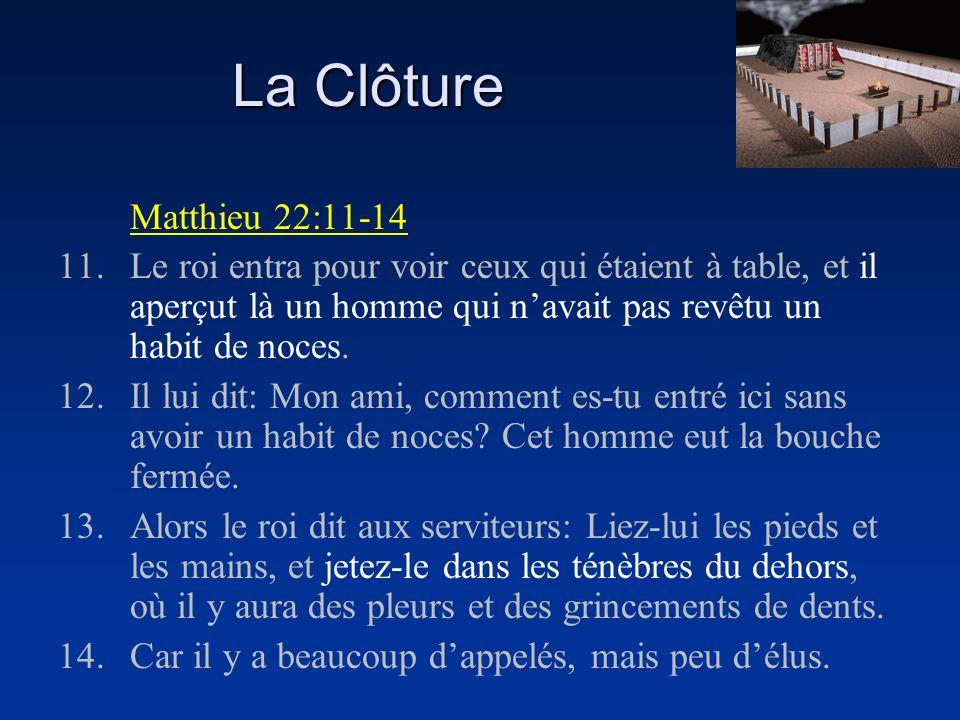 La Clôture Matthieu 22:11-14 11.Le roi entra pour voir ceux qui étaient à table, et il aperçut là un homme qui navait pas revêtu un habit de noces. 12