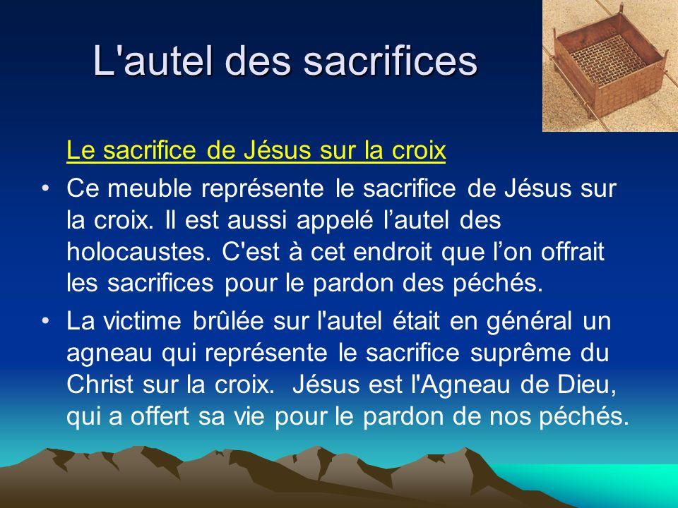 L'autel des sacrifices Le sacrifice de Jésus sur la croix Ce meuble représente le sacrifice de Jésus sur la croix. Il est aussi appelé lautel des holo