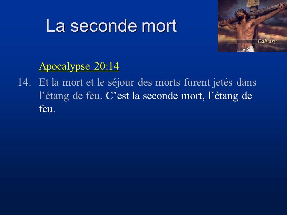 La seconde mort Apocalypse 20:14 14.Et la mort et le séjour des morts furent jetés dans létang de feu. Cest la seconde mort, létang de feu.