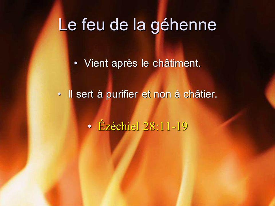 Le feu de la géhenne Vient après le châtiment.Vient après le châtiment. Il sert à purifier et non à châtier.Il sert à purifier et non à châtier. Ézéch