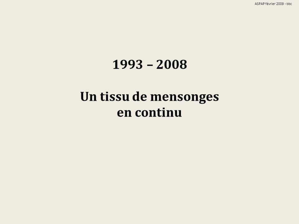 1993 – 2008 Un tissu de mensonges en continu ASPAP février 2009 - bbc