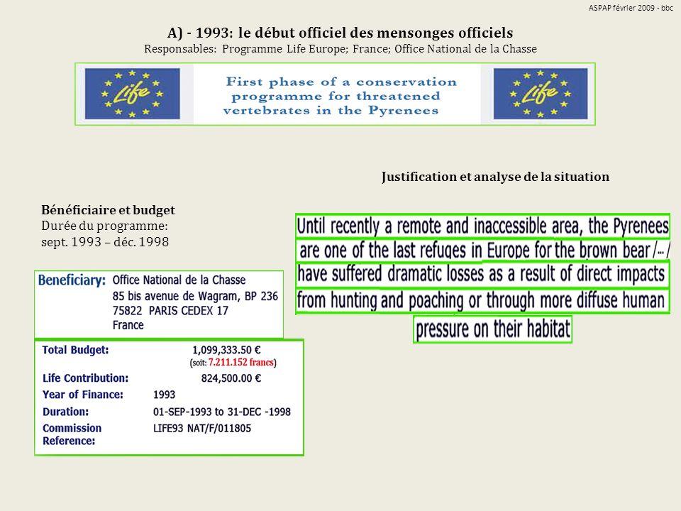 A) - 1993: le début officiel des mensonges officiels Responsables: Programme Life Europe; France; Office National de la Chasse Bénéficiaire et budget Durée du programme: sept.