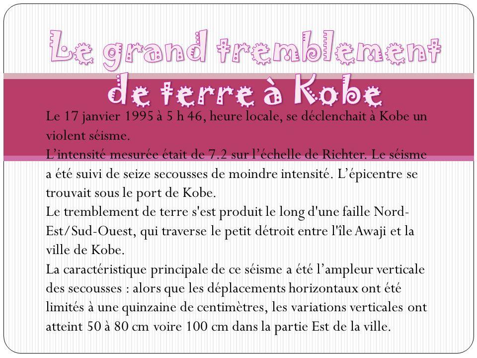 Le 17 janvier 1995 à 5 h 46, heure locale, se déclenchait à Kobe un violent séisme. Lintensité mesurée était de 7.2 sur léchelle de Richter. Le séisme
