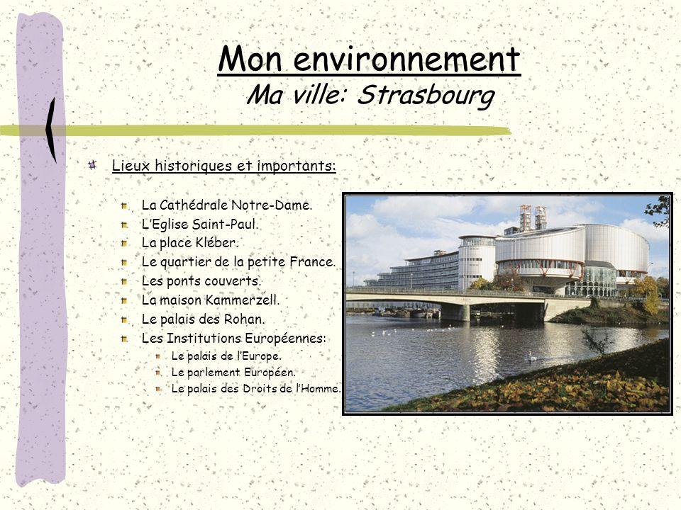Mon environnement Ma ville: Strasbourg Lieux historiques et importants: La Cathédrale Notre-Dame.