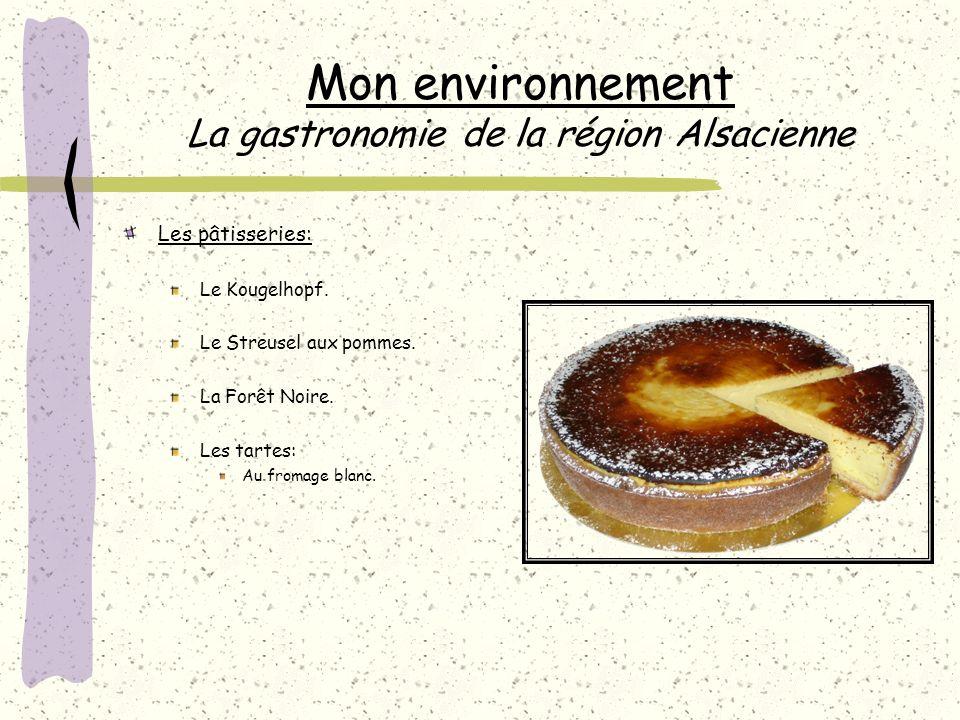 Mon environnement La gastronomie de la région Alsacienne Les pâtisseries: Le Kougelhopf.