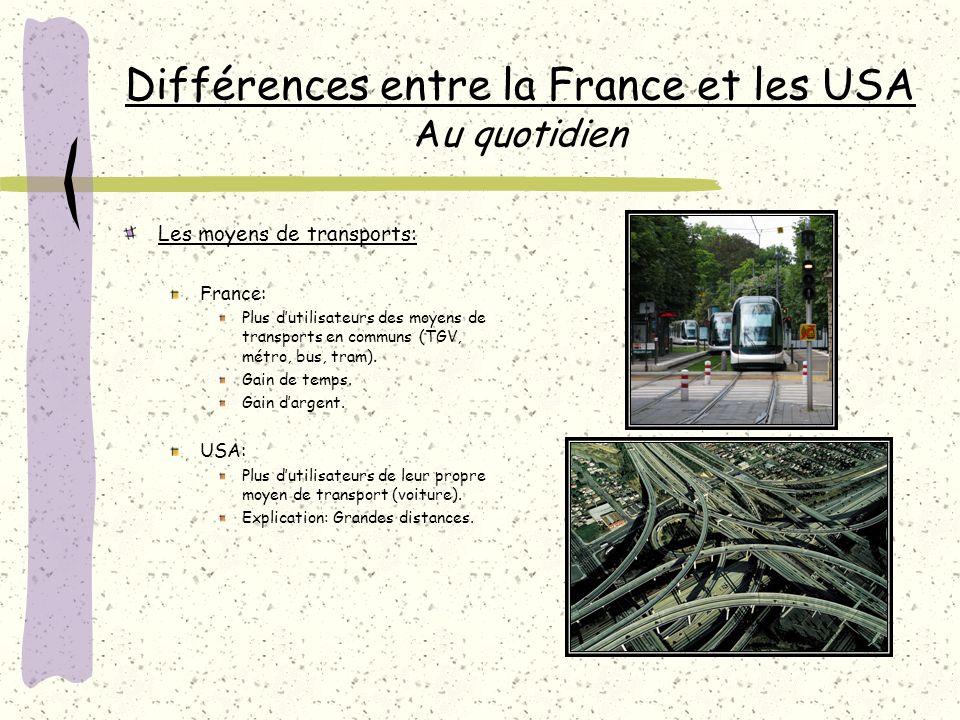 Différences entre la France et les USA Au quotidien Les moyens de transports: France: Plus dutilisateurs des moyens de transports en communs (TGV, métro, bus, tram).