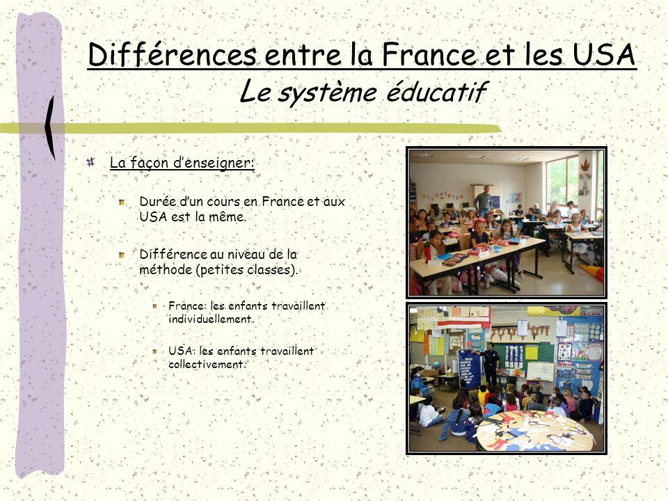 Différences entre la France et les USA L e système éducatif La façon denseigner: Durée dun cours en France et aux USA est la même.